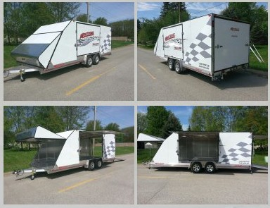 """20' x 94""""x 72"""" white low profile car enclosed trailer with 10' ramps all aluminum"""
