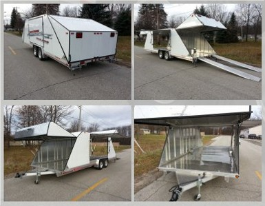 """22' x 94""""x 64"""" white tapered back low profile car enclosed trailer with 10' ramps all aluminum"""